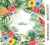 watercolor tropical floral... | Shutterstock . vector #681917077
