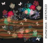 seamless floral border with... | Shutterstock .eps vector #681924223