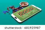 roulette on a smartphone on... | Shutterstock . vector #681925987