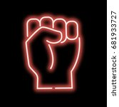 neon sign hand clenched into... | Shutterstock .eps vector #681933727