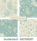 set of seamless abstract... | Shutterstock .eps vector #681938287