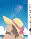 women and the sea   summer... | Shutterstock .eps vector #681945157