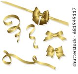 vector set of shiny golden... | Shutterstock .eps vector #681949117