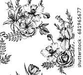 vintage vector floral seamless... | Shutterstock .eps vector #681965677