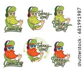 cannabis logo  man hipster cool ... | Shutterstock .eps vector #681991987