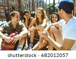group of friends talking and... | Shutterstock . vector #682012057