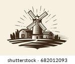 farm  rural landscape logo or... | Shutterstock .eps vector #682012093
