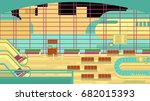 background of hall at airport. | Shutterstock . vector #682015393