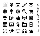 seo and digital marketing glyph ...