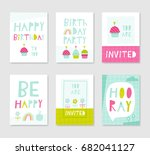 Set Of Cute Creative Birthday...