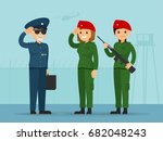 female commando soldiers salute ... | Shutterstock .eps vector #682048243