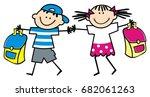 kids and schoolbag  vector icon | Shutterstock .eps vector #682061263