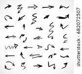 hand drawn arrows  vector set | Shutterstock .eps vector #682072507