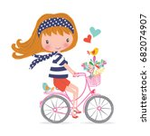 happy little girl with bunch of ... | Shutterstock .eps vector #682074907