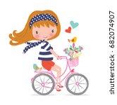 happy little girl with bunch of ... | Shutterstock .eps vector #682074907