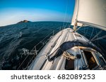 yacht sailing in the tropical... | Shutterstock . vector #682089253