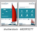 yacht club flyer design with... | Shutterstock .eps vector #682095277