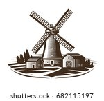 windmill  mill logo or label.... | Shutterstock .eps vector #682115197