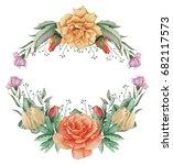hand painted watercolor wreath... | Shutterstock . vector #682117573