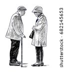 the old townspeople talking | Shutterstock . vector #682145653