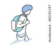 traveler and backpacker. hand...   Shutterstock .eps vector #682151197