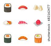 japanese food icons set.... | Shutterstock .eps vector #682162477