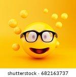 3d illustration. emoji icons... | Shutterstock . vector #682163737