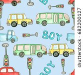 seamless pattern with cars ... | Shutterstock . vector #682200127