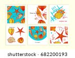set of colorful cards with... | Shutterstock . vector #682200193