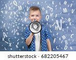 little boy with megaphone and... | Shutterstock . vector #682205467