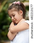 little girl crying and hug self ... | Shutterstock . vector #682213177