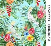 green palm leaves  white...   Shutterstock . vector #682219333