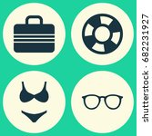 summer icons set. collection of ... | Shutterstock .eps vector #682231927