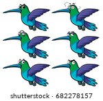 hummingbirds with different... | Shutterstock .eps vector #682278157