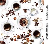 coffee cups. view from above.... | Shutterstock . vector #682289683
