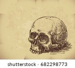 hand drawn skull on old paper....