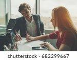 attractive man entrepreneur... | Shutterstock . vector #682299667