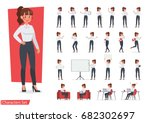 businesswoman working character ... | Shutterstock .eps vector #682302697