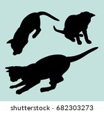 attractive cat animal gesture... | Shutterstock .eps vector #682303273