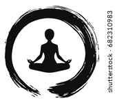 yoga meditation with zen circle ... | Shutterstock .eps vector #682310983