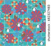 summer accessories on water... | Shutterstock .eps vector #682327483