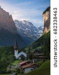 the church in lauterbrunnen... | Shutterstock . vector #682338463