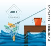 net with fish and bucket | Shutterstock .eps vector #682341403