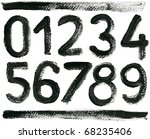 hand drawn abc numbers set ...   Shutterstock . vector #68235406