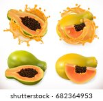 papaya juice. fresh fruit  3d... | Shutterstock .eps vector #682364953