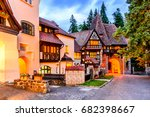 Small photo of Sinaia, Romania. Typical architecture with german influence in the city from Carpathian Mountains.