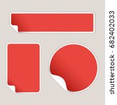 red stickers on beige striped... | Shutterstock .eps vector #682402033