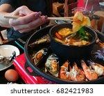 woman hand using chopsticks ... | Shutterstock . vector #682421983