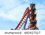 roller coaster with people... | Shutterstock . vector #682427317