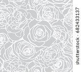 rose grey pattern. floral... | Shutterstock .eps vector #682433137